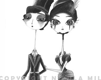 The Von Furstenbergs - Fine Art Print   Tim Burton style, steampunk print, steampunk couple, victorian art