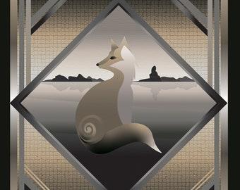 Art Deco Fox Giclee Print   Art deco, art deco style, animal print, digital art, gold print, fox art