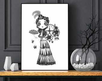 Duchess Van der Park, Fine Art Print   Tim Burton style, Steampunk art, Romantic Gothic art.