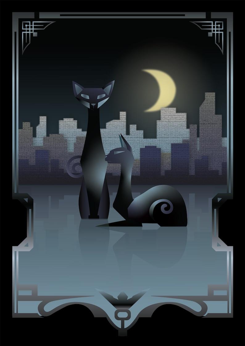 Art Deco Cats Giclee Print  Art deco art deco style animal image 1
