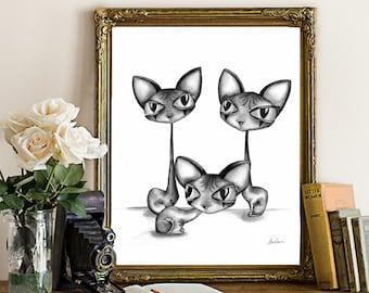 Sphynx Cats - Fine Art Print   Tim Burton style, cat art, gothic cat, cat print