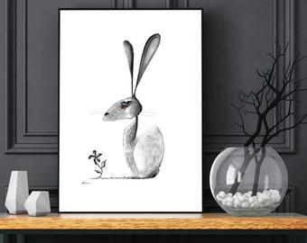 Aristocratic Rabbit - Fine Art Print   rabbit print, rabbit, black and white print