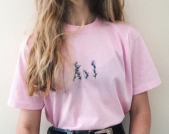 Hand Embroidered floral t-shirt - Made to order