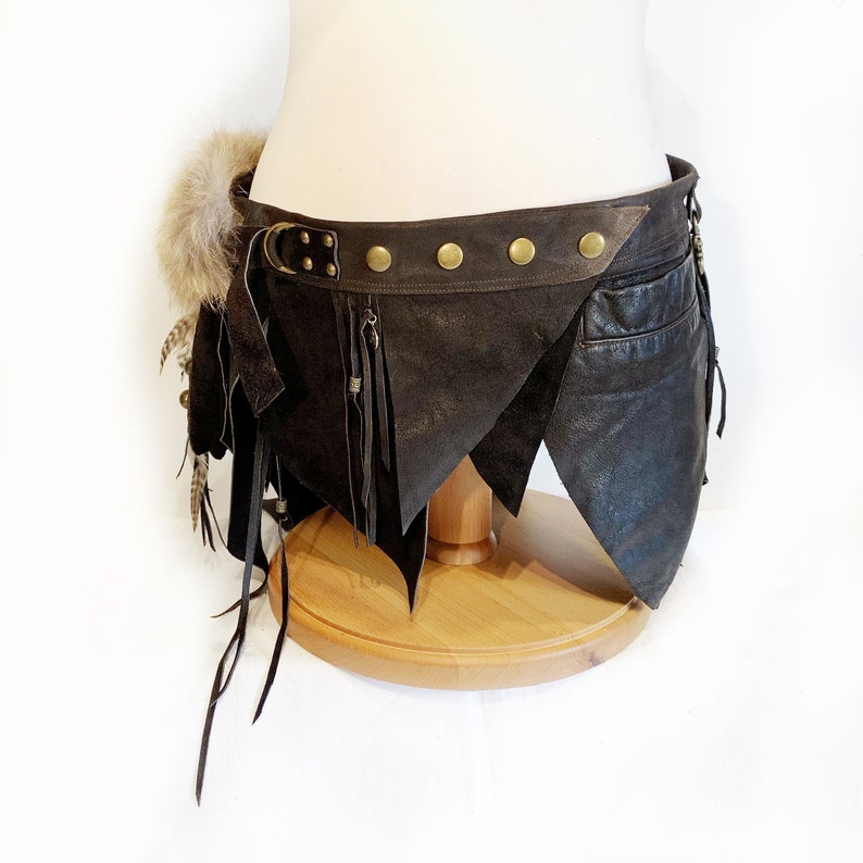 HEDDA Pocket-Belt Festival-Wear Burning man-Style Steampunk-Accessories Rave Tribal-Fushion Boho-Chic Alternative Natural-Materials Recycled