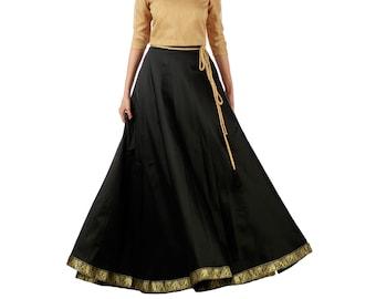 6b5261eef7 Women's Taffeta Silk Maxi Wrap-Around Long Skirt for Women Ethnic Indian  Lehenga Style Skirt Free Size Black