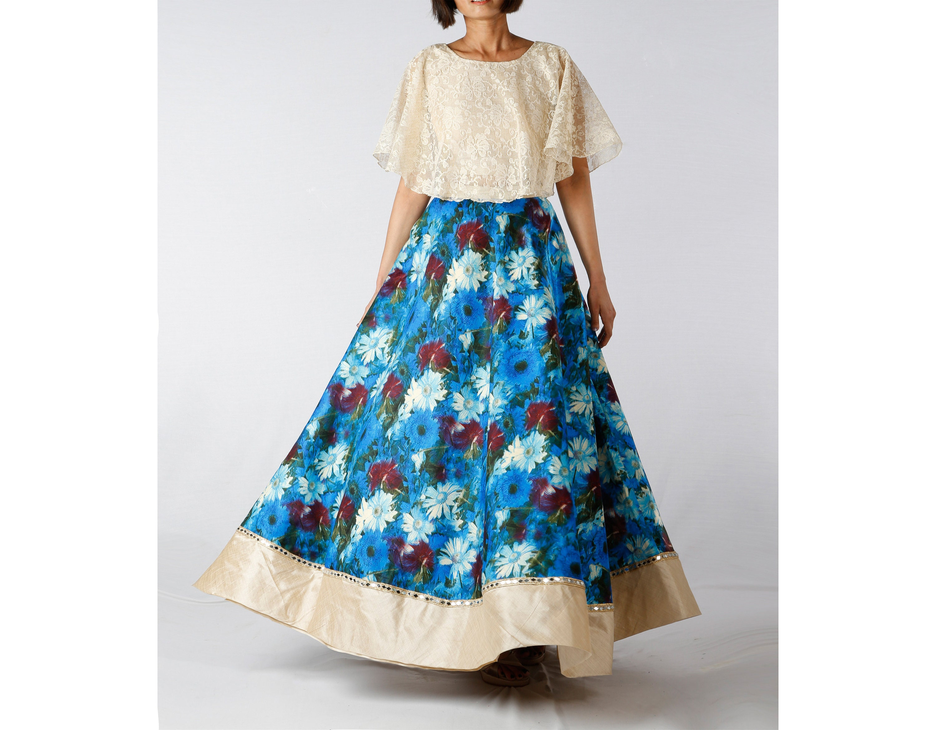 94e46c8d419 Indian Blue Floral Maxi Skirt with Crop Top Lehenga