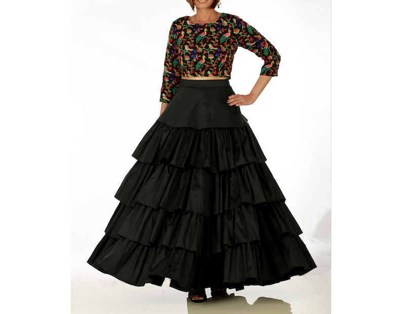 6c8a1775ae29a Indian Black Silk Ruffle Maxi Skirt with Embroidered Crop Top
