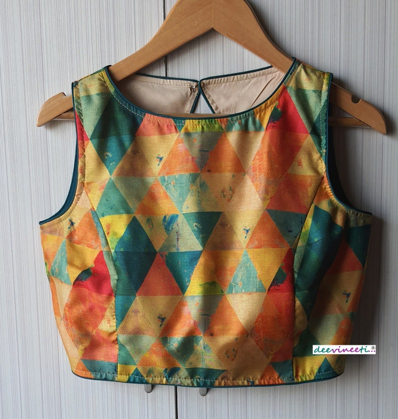 Made To Order Indian Multicolor Printed Khadi Silk Small Round Neck Saree Blouse Lehenga Blouse Sleeveless Open Back
