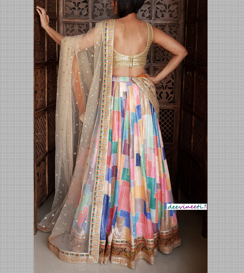 Made To Order Indian Designer Sequins Embroidered Multicolor Georgette Lehenga Choli for  Wedding Bridesmaid Dress
