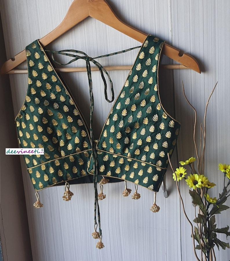 Made To Order Indian Brocade Silk Sleeveless Deep V Neck Saree Blouse Lehenga Blouse Green White Hot Pink Black