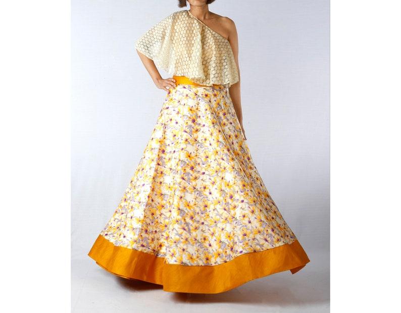 ecc453ea594a9e Indian Yellow Floral Maxi Skirt with One Shoulder Crop Top