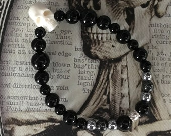 Gothic Skull and Black Bead Bracelet