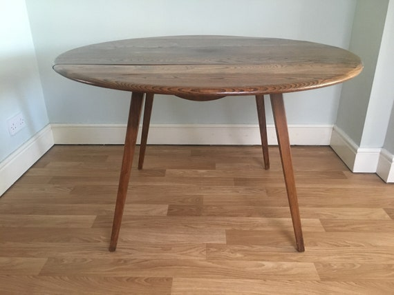Sold Ercol Round Drop Leaf Dining Table 384 Dark Stain Etsy