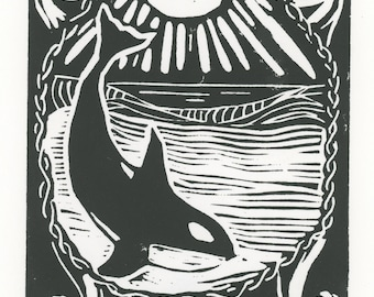 Orca Linocut