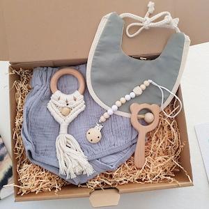 New Mum Gift Baby Rattle Baby Boy Gift Set Newborn Boy Gift Scandinavian Baby Gift Baby Bib New Baby Gift Baby Teething Ring