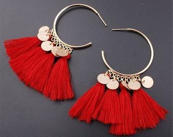 Beautiful red Boho earrings with tassels