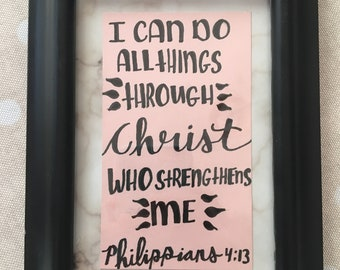 Hand-lettered Philippians 4:13 4X6 Wall Decor