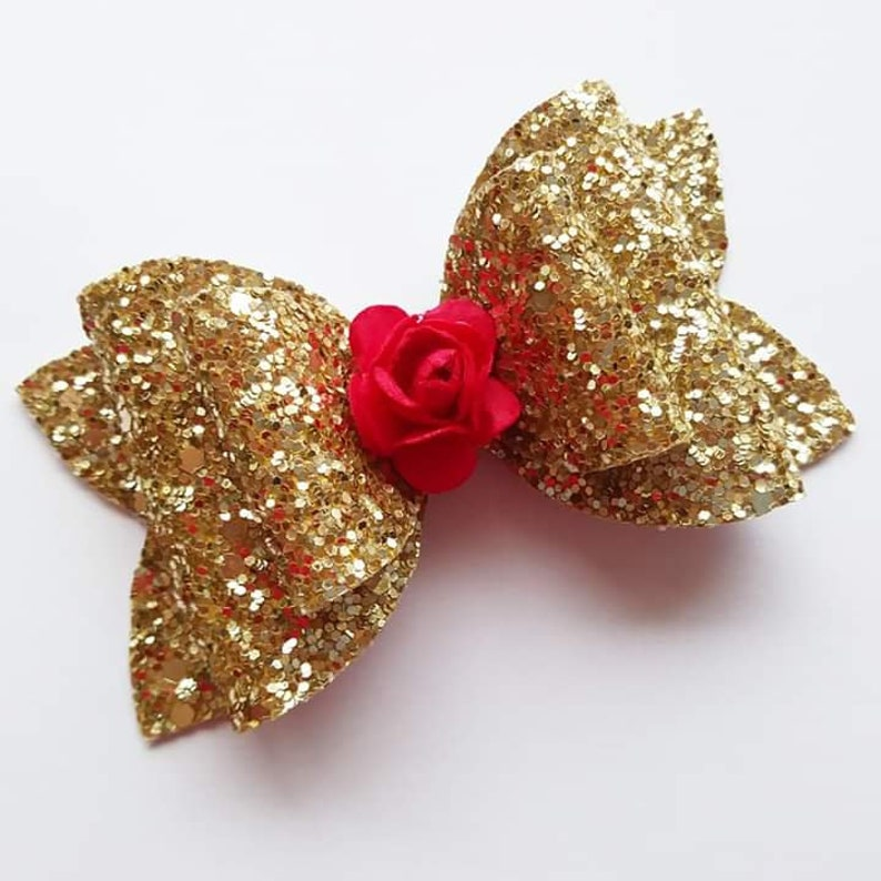 Disney Princess Beauty /& The Beast Hair Bows Bobbles Clips