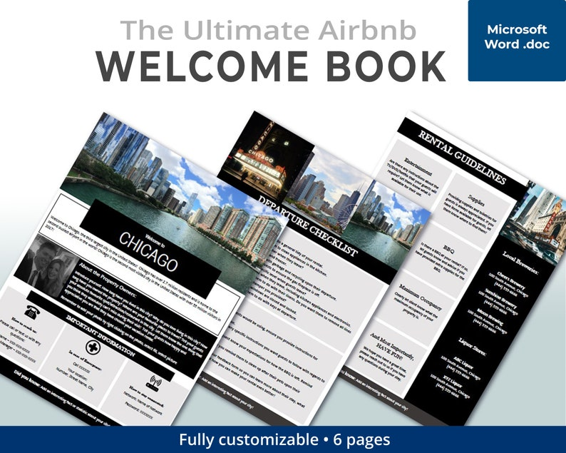 CHICAGO - Welcome Book - Guest Book - Airbnb - Vacation Rental - Printable  - Template - USA - Rental Guidebook - VRBO