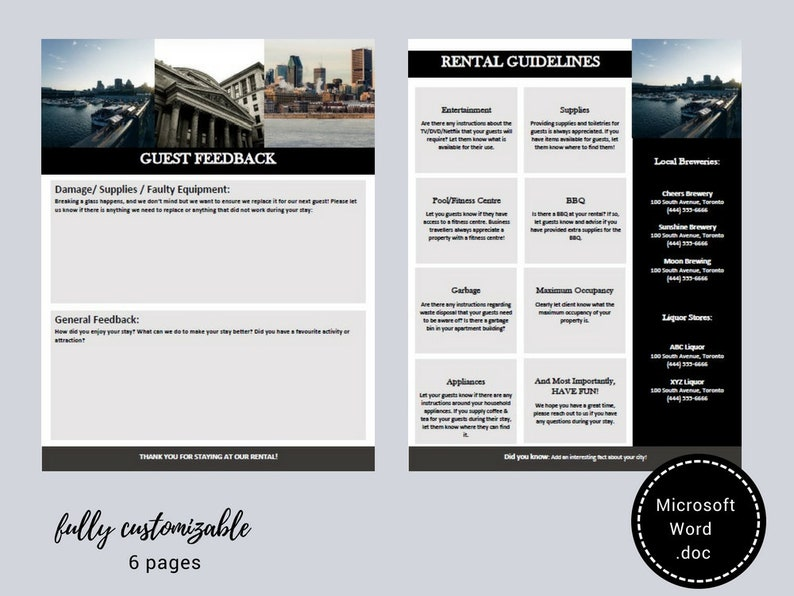 Welcome Book - Montreal - Guest Book - Airbnb - Vacation Rental - Printable  - Template - Rental Guidebook - VRBO - Canada