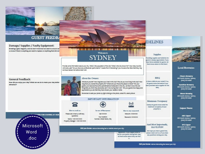 Welcome Book - Sydney - Guest Book - Airbnb - Vacation Rental - Printable -  Template - Australia - Rental Guidebook - VRBO