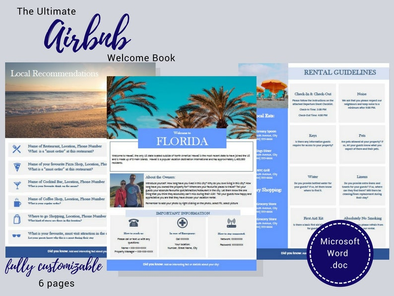 Welcome Book - Florida - Guest Book - Airbnb - Vacation Rental - Printable  - Template - Rental Guidebook - VRBO