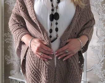Cotton shawl Hand knit shawl Beige triangle shawl Women shawl Elegant shawl Lace Shawl Boho shawl Summer shawl Personalized Gift for her