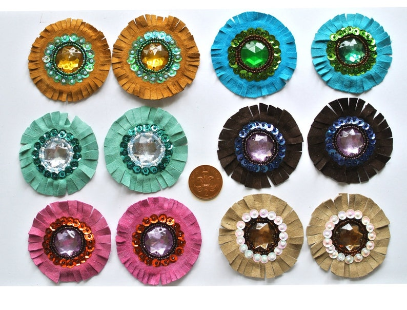 Set of 12 Medium Real Suede Leather Beaded and Sequined Rosets