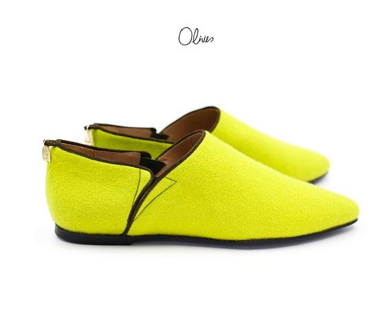 Poivre vert   feutre naturel haut de de de gamme, mocassins, ballerines, chaussures de mode à la main, doublure de chaussures pour femme, en cuir fabriqués à la main chaussures de femme   Acheter  e040ee