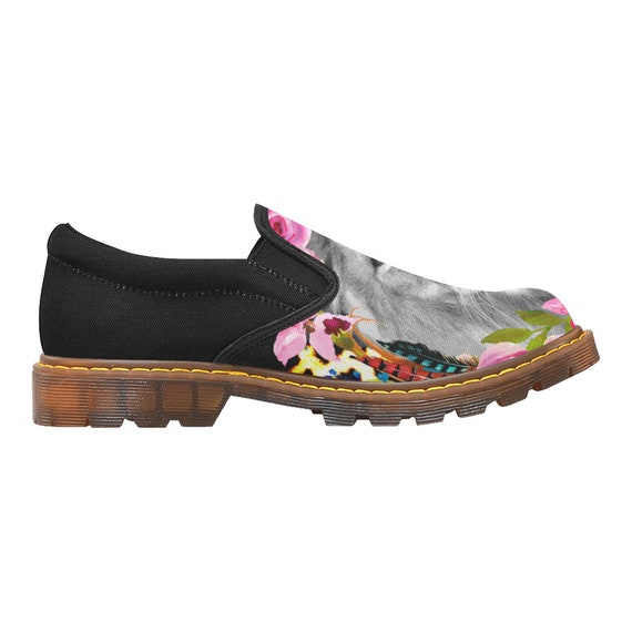 on shoes black sole shoes shoes shoes rubber slip and flowers art Women's on shoes lion designed ladies flats slip canvas AwxqS5fRBC