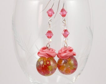 Pearls and pink earrings