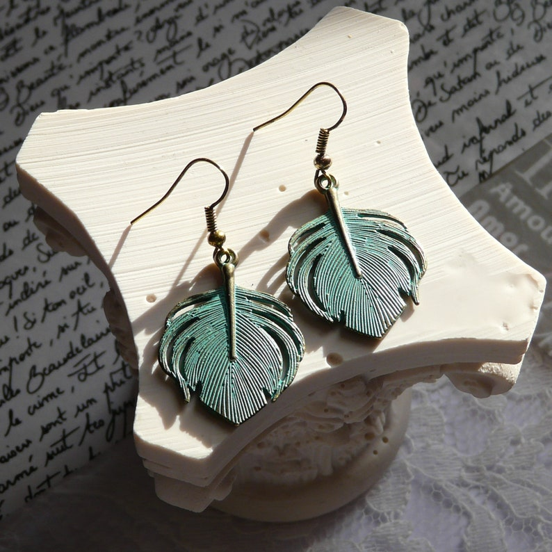 Bronze and turquoise tropical earrings