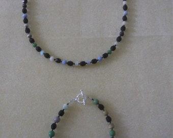 Necklace and Bracelet Set. Jet Black
