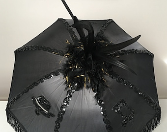 Second line Umbrellas Bride Feather Decorated Custom Secondline Umbrella Second line Umbrella Wedding New Orleans Silk Fringe