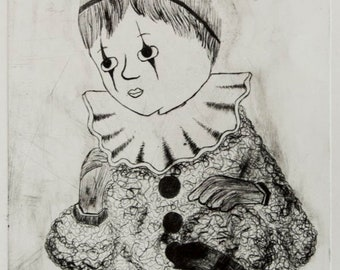 Baby Jack, Baby Jester Clown Art Drypoint Etching Print, Black, Matted and Framed, Jason Raye