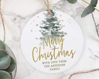 Christmas Tree Round Personalized Address Labels Stickers 2 circle return address round Label C20