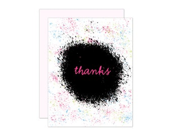 Paint Splatter Thank You Greeting Card, notecard, thanks