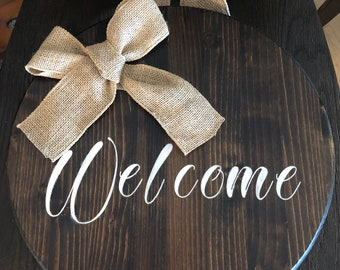 Hand painted wood welcome sign