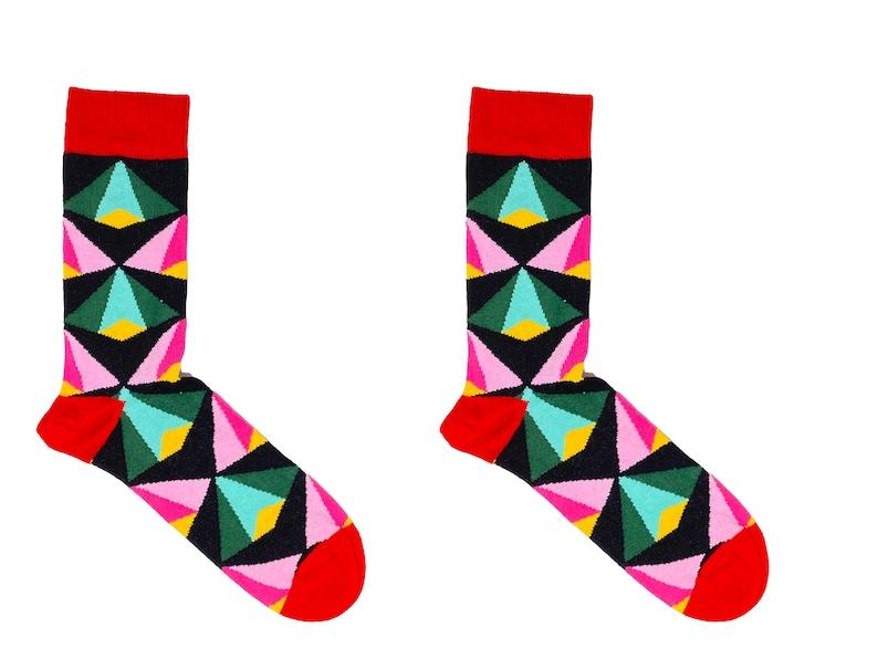Oroys\u2019 Socks | Socks Funky Socks Cotton Socks Cool Socks Triangular Pattern Red Socks Gift For Him Men/'s Socks Fun Socks