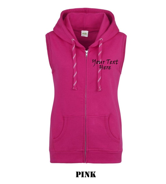 7e3d75ffde38e Personalised custom printed Ladies sleeveless hoody hoodie