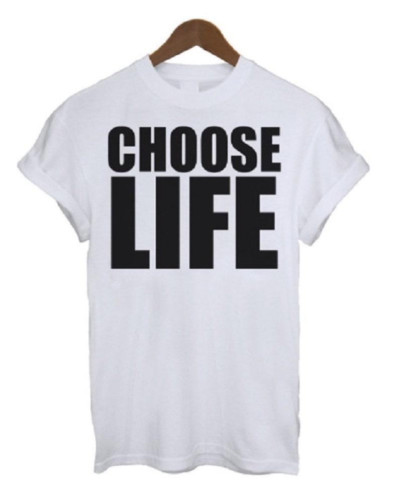 36469da9 White CHOOSE LIFE retro t shirt Inspired by Wham George | Etsy