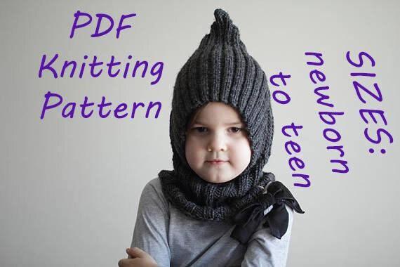 Downloadable Pdf Pattern Balaclava Pixie Elf Hat Hooded Scarf Etsy