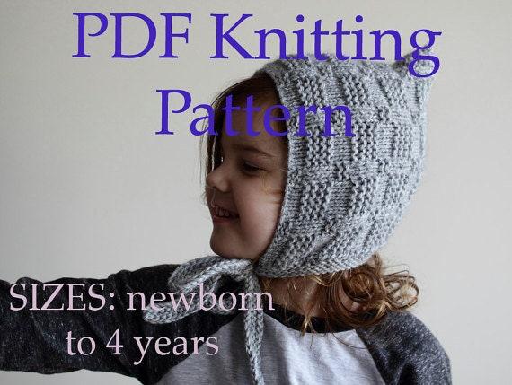 PDF KNITTING PATTERN baby bonnet pattern pixie hat pattern  c8d349d04c3