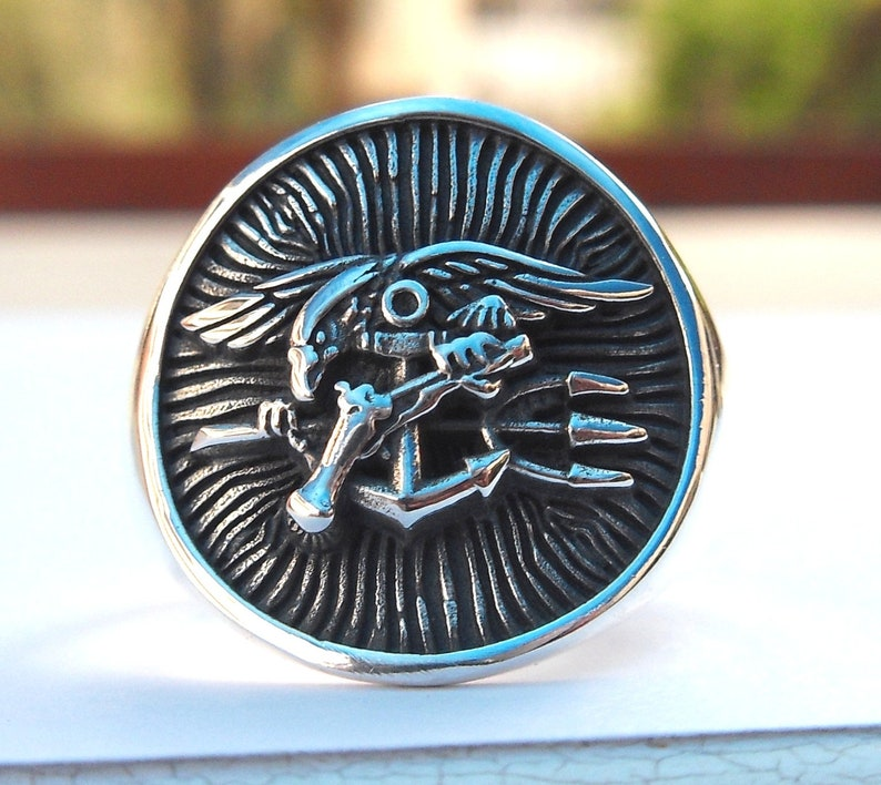 Solid Sterling Silver 925 US Special Forces Navy Seals Handmade 3D Ring