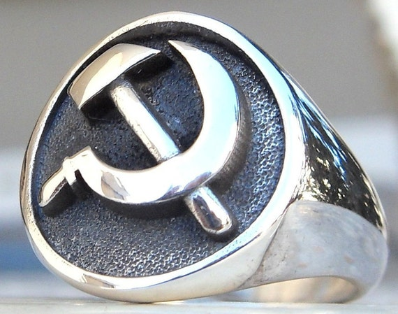 925 Sterling Silver Communist USSR Emblem Signet Ring for Men СССР Soviet Union Symbol Handmade Vintage Jewelry