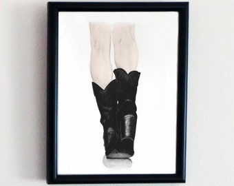 Watercolour Painting of Cowboy Boots Art Print