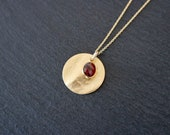 Garnet Necklace, gold deep red, 925 Silver, gold Vermeil