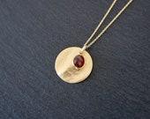 Garnet Necklace, gold deep red, 925 Silver, gold Vermeil