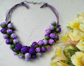Purple necklace, Polimer clay necklace, Violet necklace, Lilac necklace, Peony Necklace, Flower Jewelry, Necklace Purple Flower Necklace