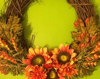 Modern Fall Autumn Sunflower Wreath